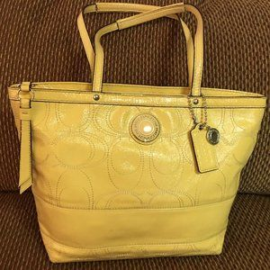 COACH Stitched Signature Patent Leather Tote 19198